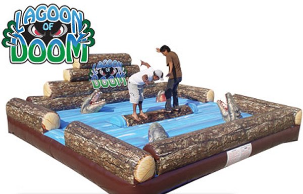 Lagoon of Doom Log Rolling Competition Interactive Game Rental Denver